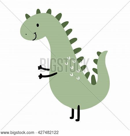 Cute Green Dinosaur For Decorating  Postcard. Cartoon Character For Printing On Child Clothing. Anim