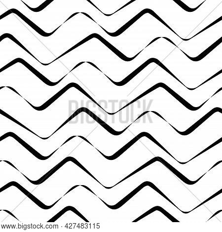 Simple Vector Seamless Zigzag Pattern. A Linear Background Looks Like Waves Or Mountains. Naive Repe