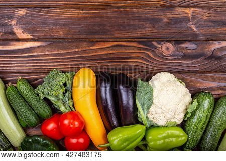 A Set Of Delicious Vegetables. Variety Ozf Raw Vegetables. Assortment Of Fresh Organic Fruits And Ve