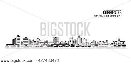 Cityscape Building Abstract Simple Shape And Modern Style Art Vector Design - Corrientes City