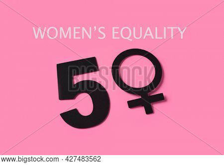 the text womens equality and the number 50, where the zero is a female gender symbol, depicting the fact that women are the fifty percent of the people