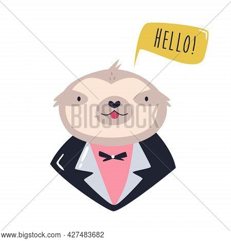 Funny Illustration Of Smiling Sloth Wearing Evening Costume.