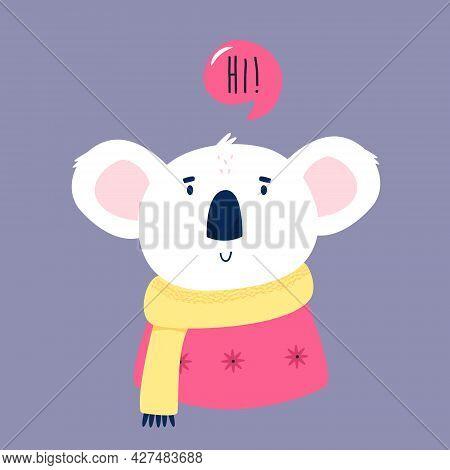 Funny Illustration Of Smiling Koala Saying Hi