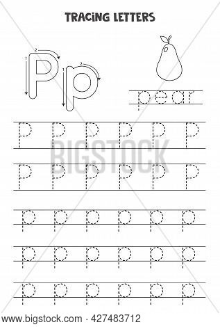 Trace Letters Of English Alphabet. Uppercase And Lowercase P. Handwriting Practice For Preschool Kid