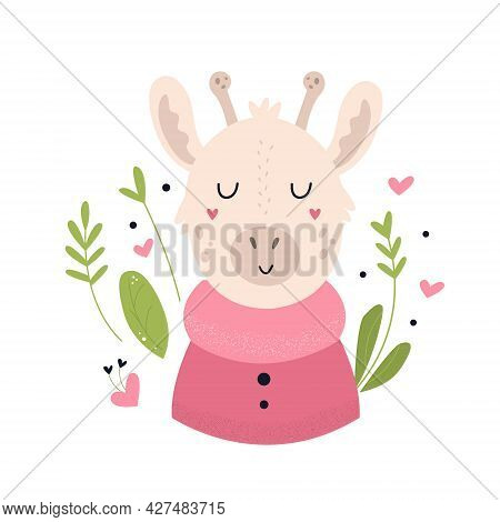 Funny Giraffe In A Sweater. Vector Composition With Floral Elements