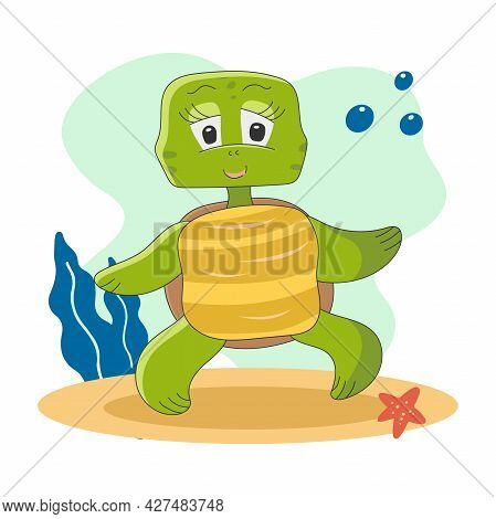 Character Of Cute Turtle Isolated On The Background. Vector Illustration In Cartoon Style For Childr