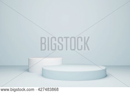 Background 3d Rendering With Podium And Minimal Cyan Wall Theme. Podium Minimal Style Background. St