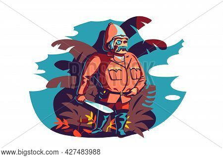 Man Brave Traveler And Explorer Vector Illustration. Searching New Horizons, Life Goals Flat Style.
