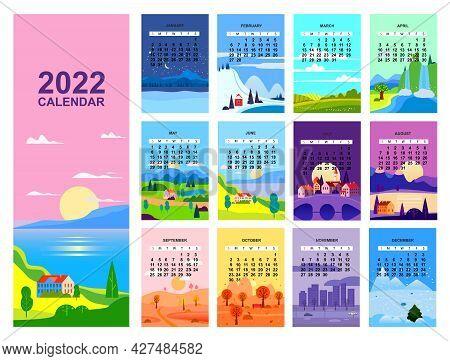 2022 Calendar Landscape Natural Backgrounds Of Four Seasons. Winter Wonderland, Fresh On Spring, Hot