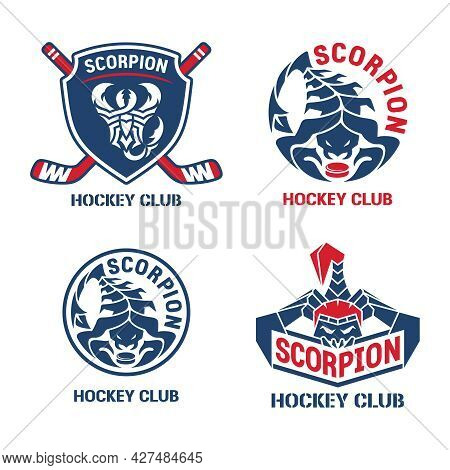 Hockey Logo Set. Shield, Sticks, Pucks And Text In Russian - Scorpion, Hockey Club. Red And Blue Col
