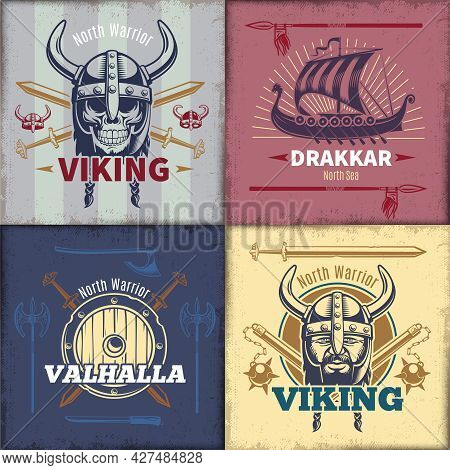 Vintage Viking Emblems Set With Head In Horned Helmet Ship And Crossed Weapon Isolated Vector Illust