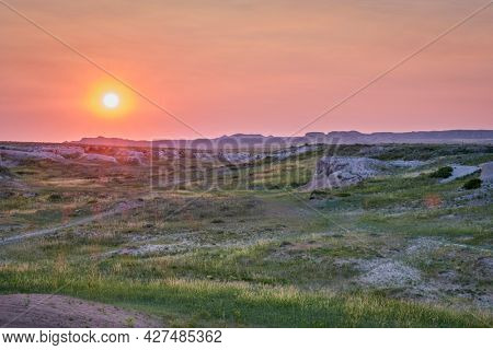 sunset over arroyo and prairie - Pawnee National Grassland in Colorado, early summer scenery
