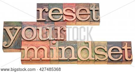 reset your mindset advice - isolated word abstract in vintage letterpress wood type, self improvement and personal development concept