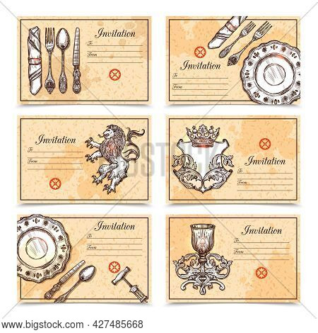 Hand Drawn Vintage Menu Set With Cutlery And Crest Images And Place For Invitation Text Vector Illus
