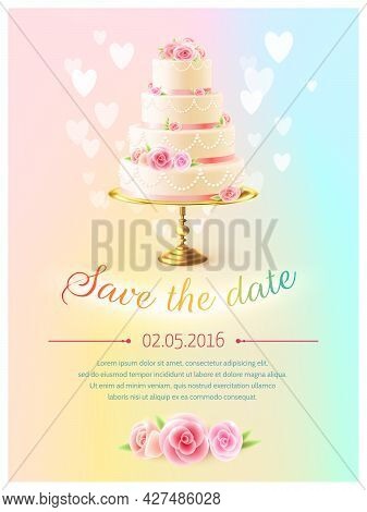 Wedding Announcement Invitation Card With Event Date And Classical Tiered Cake And Heart Symbols Rea