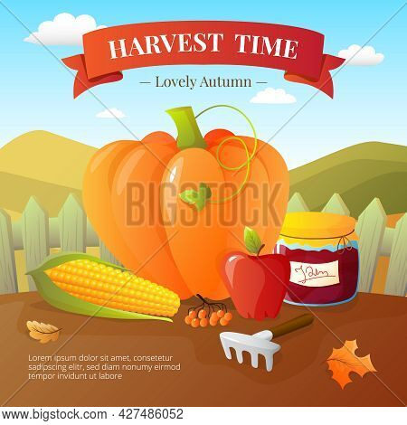 Vegetables Crops And Fruits Harvest With Pumpkin Paprika Flat Poster With  Countryside Landscape Bac