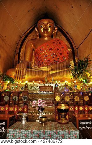 Golden Buddha Statue Of Maha Bodhi Phaya Or Mahabodhi Pagoda Temple For Burmese People Foreign Trave