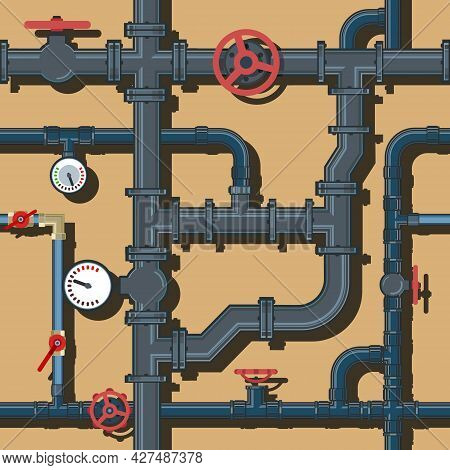 Pipeline System. Seamless Pattern. With Taps And Pressure Gauges. Background Picture. Vector