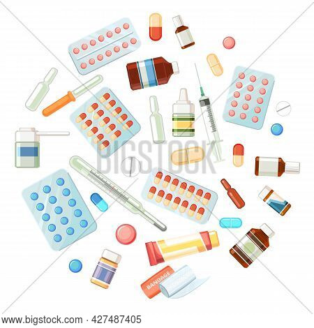 Medicines. Illustration With Bottles, Tablets, Capsules, Ampoules, Thermometer. Medicinal Drugs. Pha