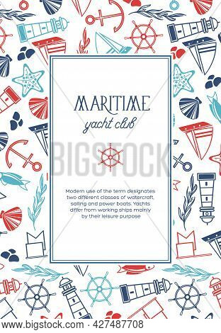 Vintage Nautical Light Poster With Text In Rectangular Frame And Hand Drawn Marine Elements Vector I