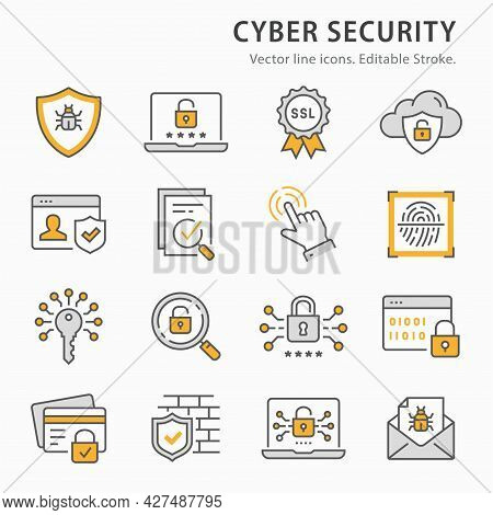 Cyber Security Icon Set. Collection Of Password, Email Virus Threat, Digital Key And More. Vector Il