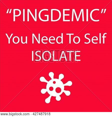 Pingdemic You Need To Self Isolate With Virus Logo On A Red Background