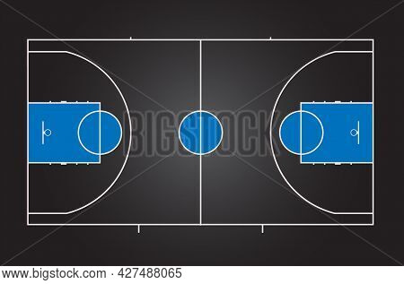 Basketball Court. Black Background With Blue Details. Multicolor Vector Illustration. View From Abov