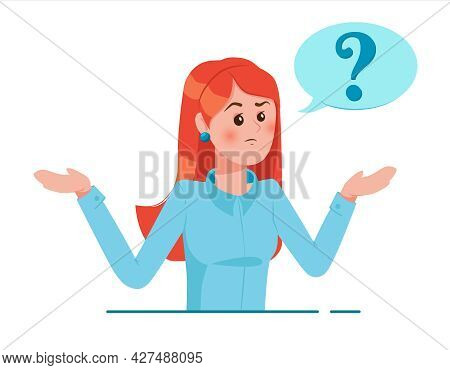 Girl With Question Mark In Think Bubble. Young Troubled Woman. People Thinking Or Solving Problem. D