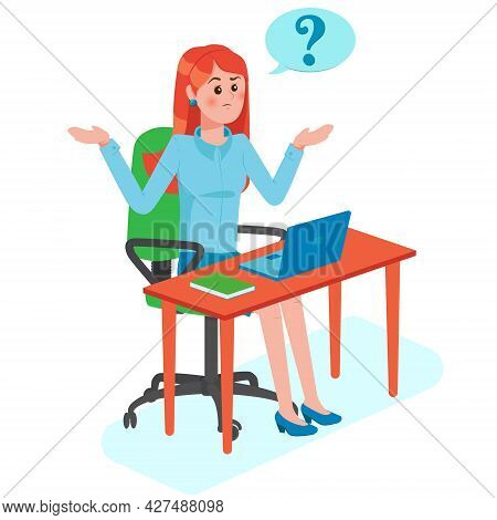 Girl With Question Mark In Think Bubble Sits On The Table. Young Troubled Woman. People Thinking Or