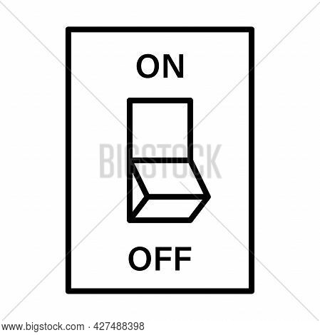 Electric Switch Outline Icon Vector. Power Off Linear Style Sign Toggle Switch Off Position For Grap