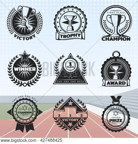 Vintage Sport Rewards Labels Set With Different Prizes And Awards On Stadium Arena Background Isolat