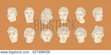 A Set Of Antique Sculptures In A Minimalistic, Trendy Linear Style. Vector Illustration Of Ancient G