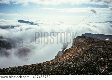Atmospheric Scenery On Top Of Mountain Ridge Above Clouds To Vertex In Thick Low Clouds. Minimalist