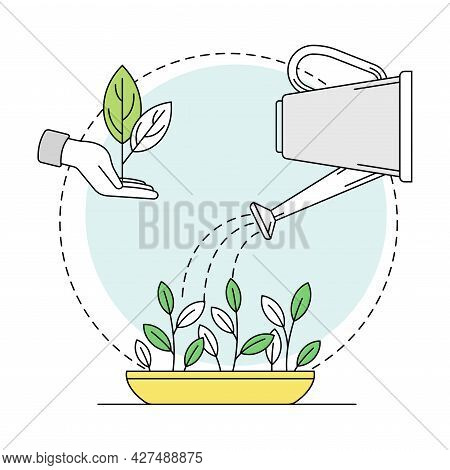 Gardening And Horticulture As Plant Cultivation With Sapling And Watering Can For Organic Product Gr