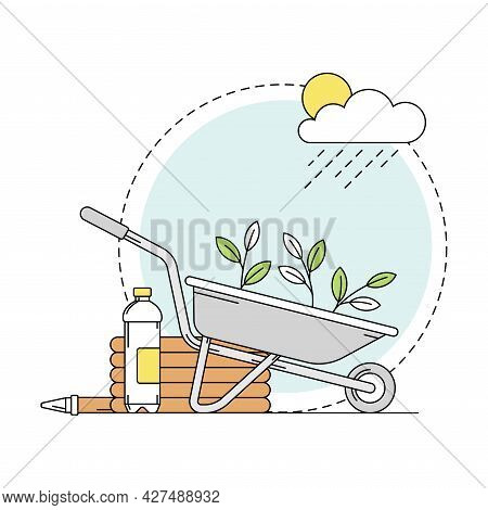 Gardening And Horticulture As Plant Cultivation With Wheelbarrow And Sapling Growing Line Round Vect
