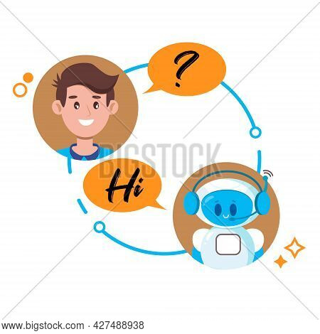Chatbot Concept. Man Chatting With Cute Robot Chat Bot. Vector Flat Cartoon Character Illustration F