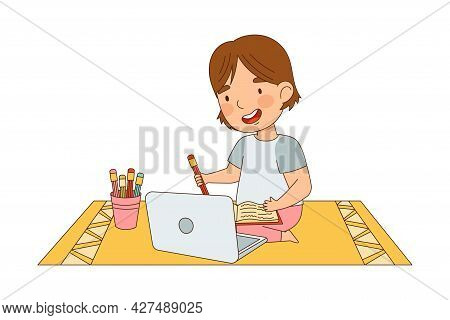 Home Study And Distance Learning With Girl In Front Of Laptop Training And Doing Homework Vector Ill