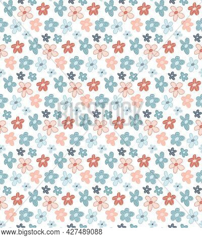 Cute Ditsy Floral Seamless Pattern With Hand Drawn Doodle Flowers In Simple Childish Scandinavian St