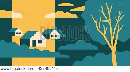 Rural Scene With Houses And Farms. Beautiful Abstract Landscape In Simple Cartoon Style