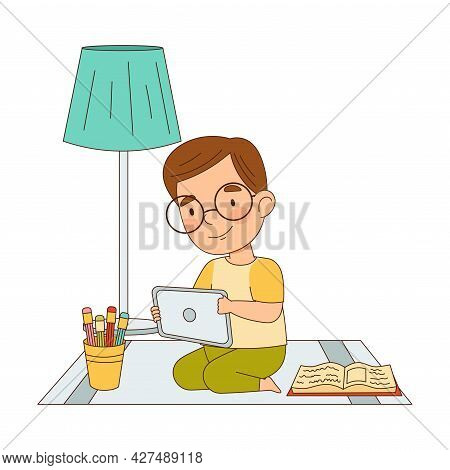 Home Study And Distance Learning With Cute Boy In Front Of Tablet Pc Training And Doing Homework Vec