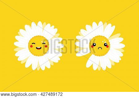 Set, Collection Of Cute Cartoon Style Happy And Sad Camomile, Daisy Flowers Characters For Nature De