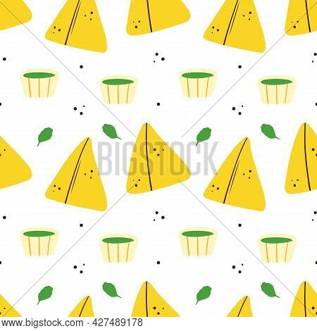 Cute Cartoon Style Samosa, Indian Baked Savory Pastry With Sauces And Greenery Vector Seamless Patte