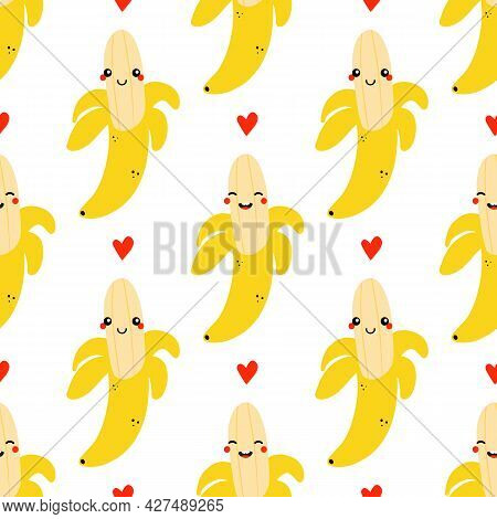 Cute Cartoon Style Half Peeled Banana Fruit Characters And Red Hearts Vector Seamless Pattern Backgr
