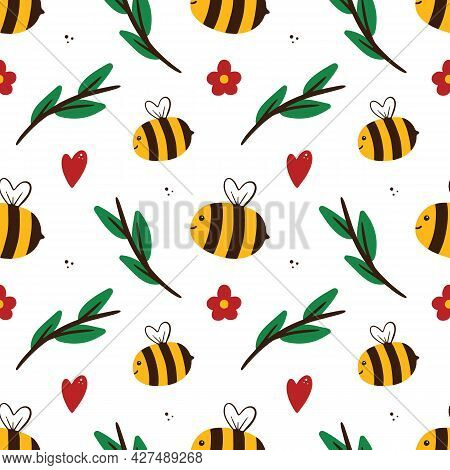 Vector Seamless Pattern Background With Cute Cartoon Style Flying Bees, Green Branches, Flowers And