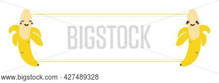 Couple Of Cute Smiling Cartoon Style Yellow Banana Characters And Blank Card, Banner For Food Design