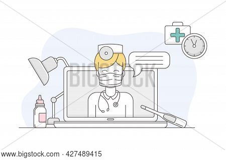Medicine With Laptop And Online Appointment With Doctor Line Vector Illustration