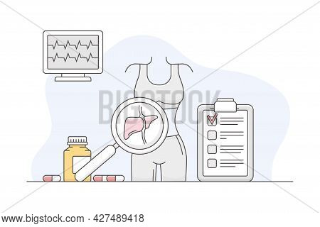 Medicine With Patient Examination And Checkup Line Vector Illustration