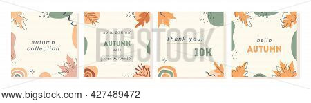 Set Of Vector Minimal Cards With Geometric Shapes And Forest Autumnal Leaves. Trendy Abstract Post T