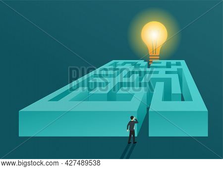 Business Solution Conceptual Design Cartoon Illustration. Confused Man Stay At Maze And Lamp As Solu
