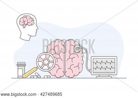 Medicine With Brain Checkup And Examination With Magnifying Glass Line Vector Illustration